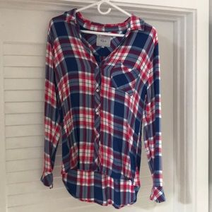 Rails flannel plaid w blue and pink